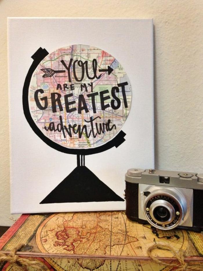 regalos romanticos, regalo san valentin, decoración de pared con globo terrestre, tu eres mi aventura más grande