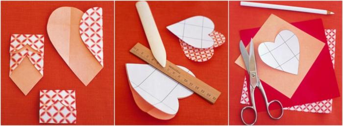 manualidades originales, tutorial para hacer tarjeta troquelada con corazones para San Valentín