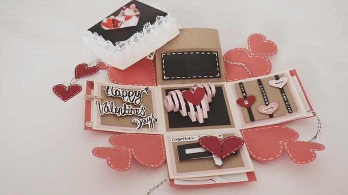 manualidades originales, regalo san valentin, caja troquelada con corazones en rosado y rojo