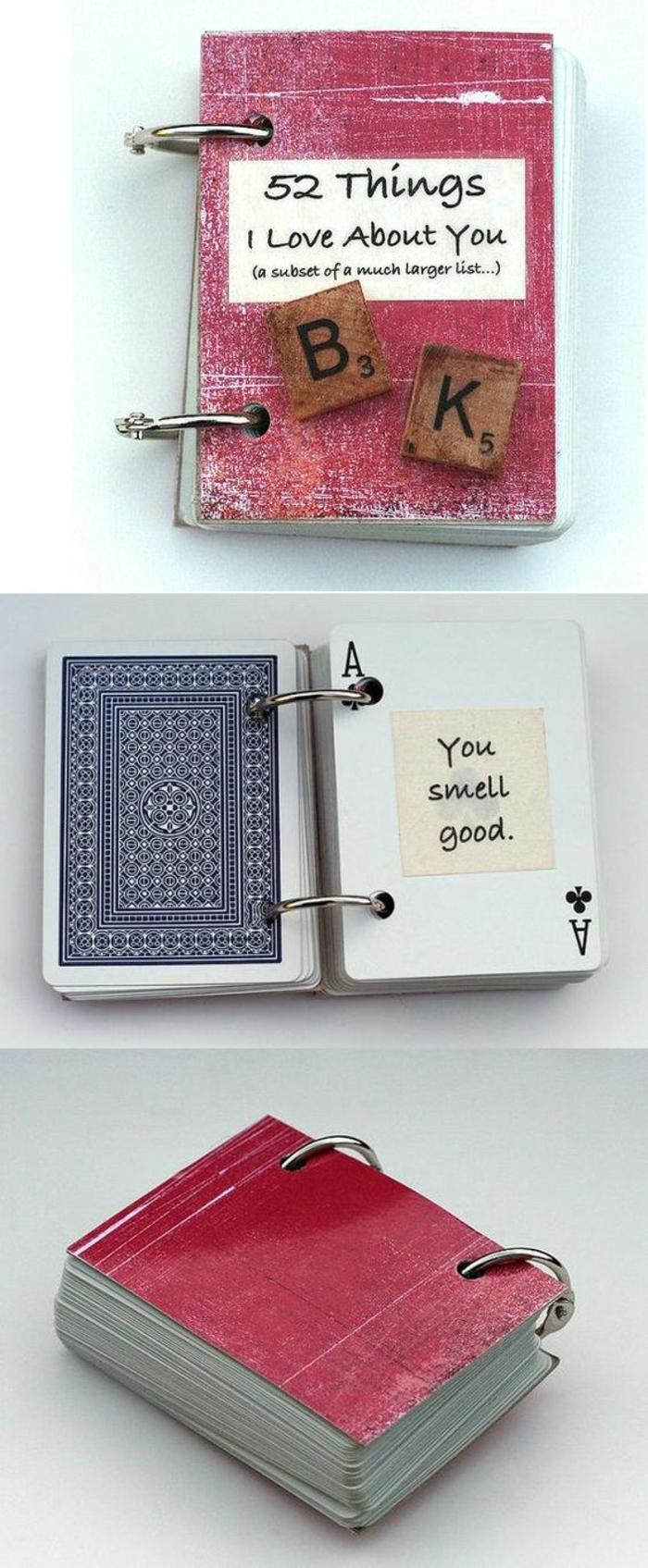 manualidades originales, regalo san valentin, cuaderno de naipes y anilla con mensajes de amor