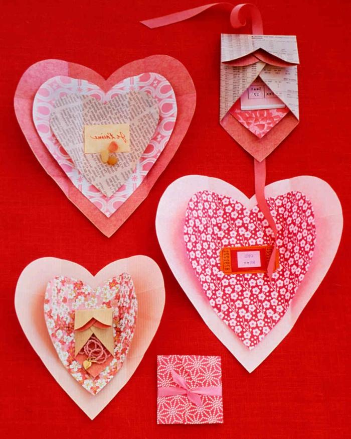manualidades originales, regalo san valentin, tarjetas troqueladas de papel seda en forma de corazones