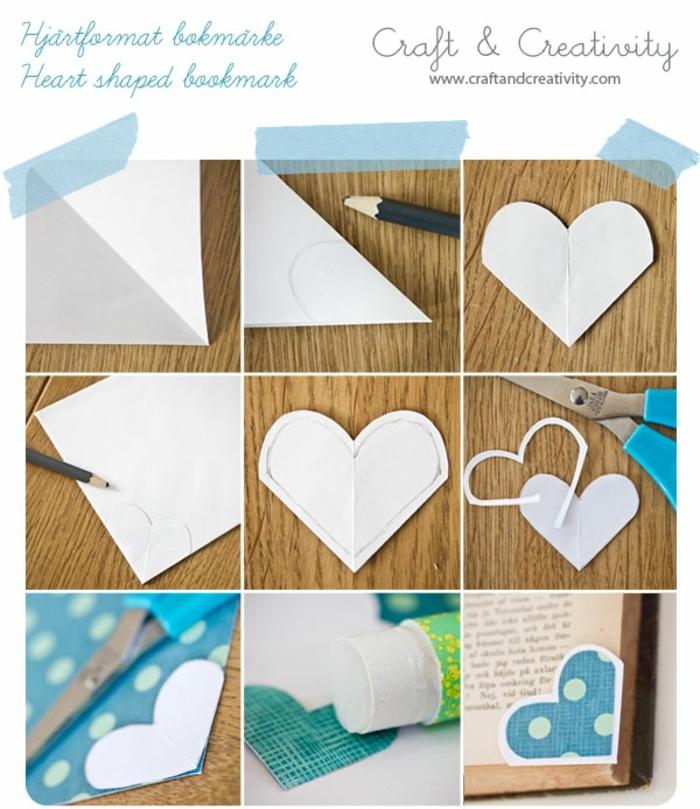 manualidades originales, tutorial para hacer separador de libros de papel en forma de corazon con tijeras y barra de pegamento