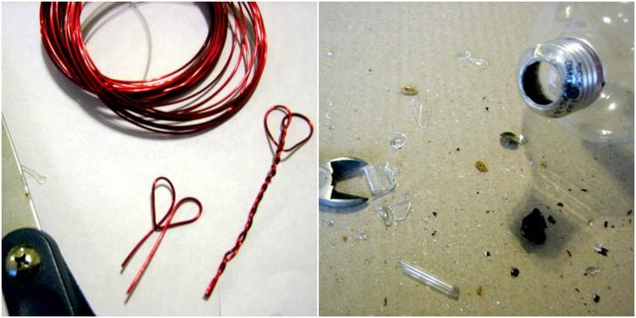 regalos originales hechos a mano, tutorial para hacer una bombilla con alambre en forma de corazón