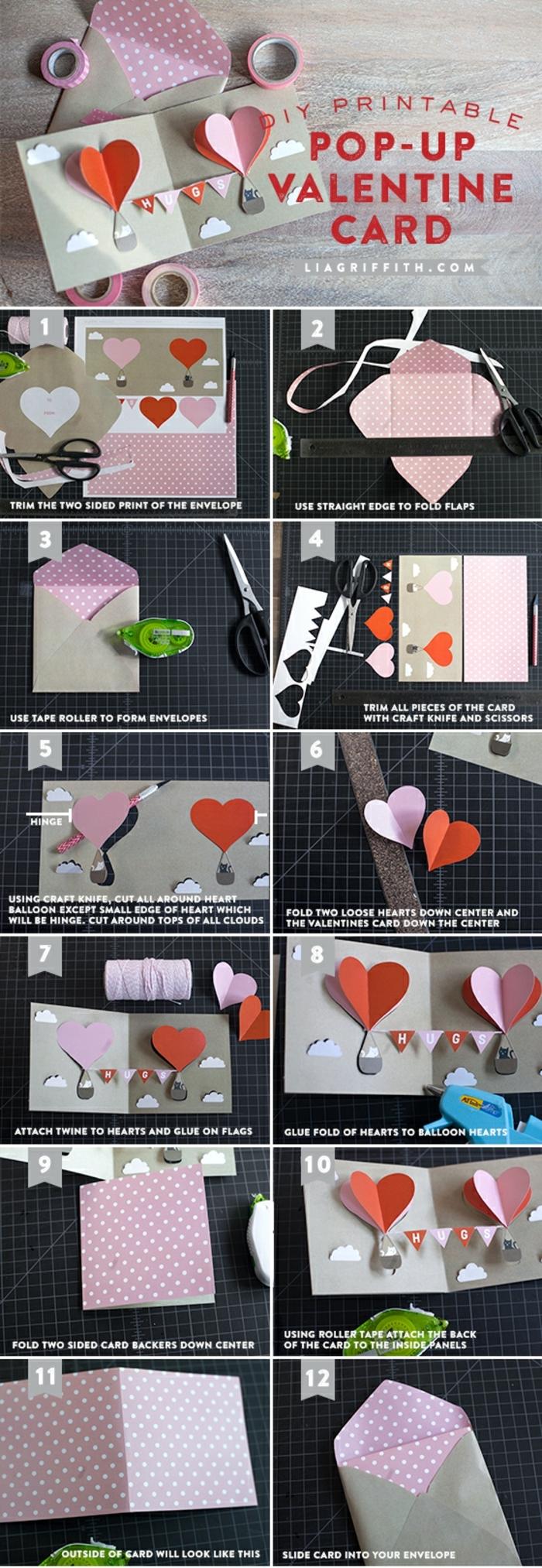 manualidades para regalar, tregalo san valentin, tutorial para hacer tarjeta romántia troquelada con corazones