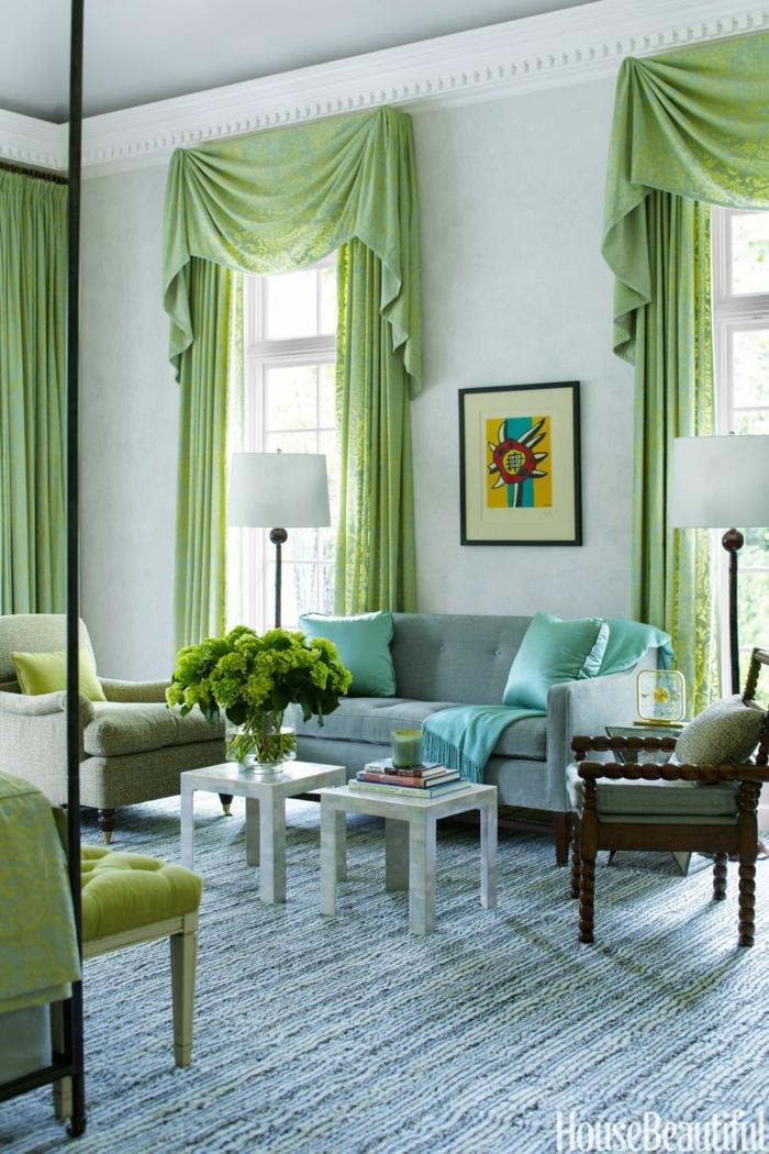 cortinas para salon, largas cortinas de algodón en verde hierba con guardamalletas, muebles de madera vintage