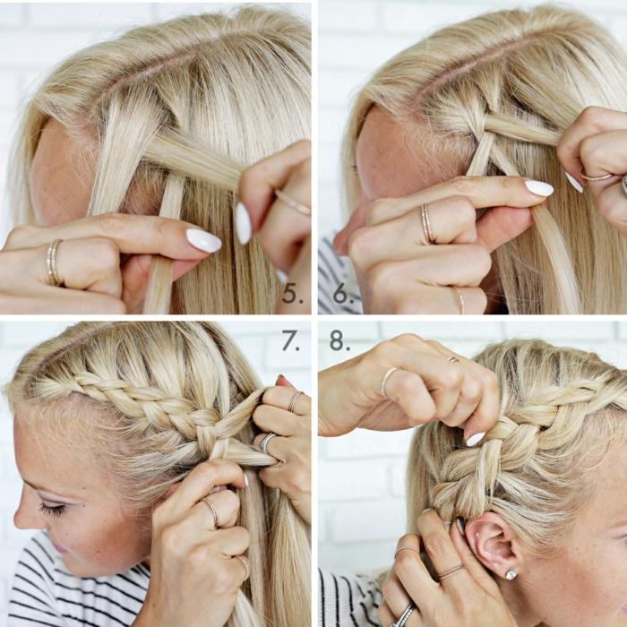 trenzas laterales, tutorial para peinado semirecogido con trenza suelta de lado , mujer con pelo rubio y blusa rayada blanca