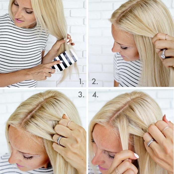 semirecogidos media melena, tutorial paso a paso para semirecogido con trenza lateral, mujer con pelo largo, rubio y liso