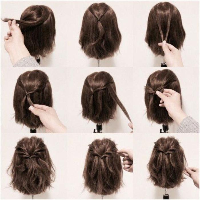semirecogidos faciles, tutorial de peinado en pelo falso corto, semirecogido con mechones torcidos y ondulados