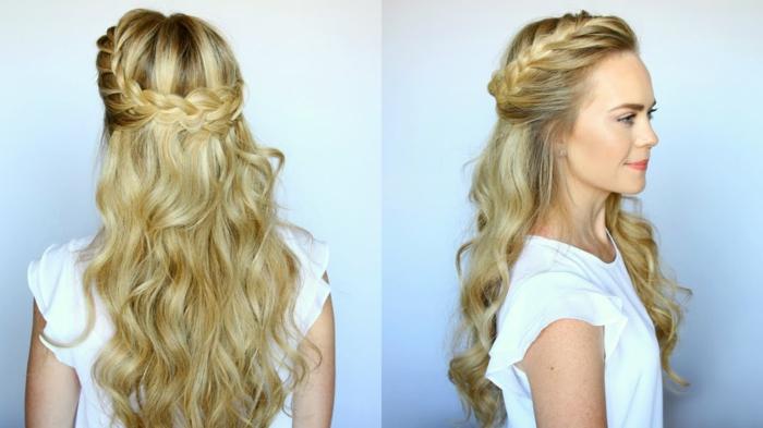 peinados semirecogidos, mujer de espalda y de perfil, pelo abundante ondulado rubio, semirecogido con corona con trenza voluminosa