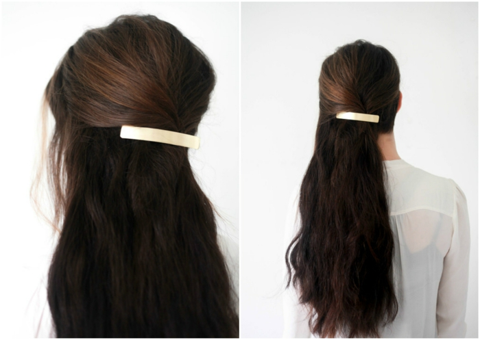 peinados semirecogidos, mujer de espaldas, cabello ondulado oscuro largo, peinado de lado, semirecogido con broche