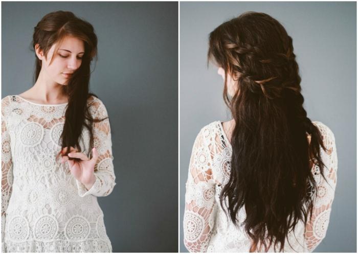 semirecogidos pelo rizado, mujer con vestido blanco con encaje, pelo largo castaño oscuro, semirecogido con dos trenzas y flequillo