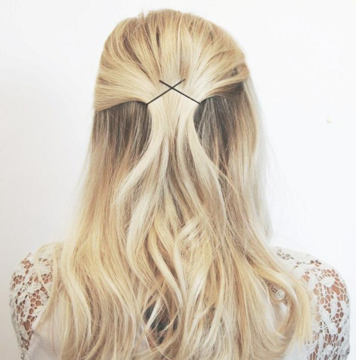 semirecogidor para bodas, tutorial para semirecogido facil con trenzas, mitad del cabello recogido con horquillas