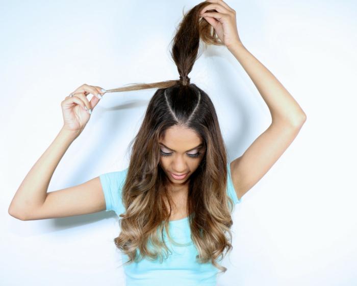 semirecogidos para bodas, tutorial para semirecogido inspirado por Ariana Grande, como hacer coleta alta en pelo largo