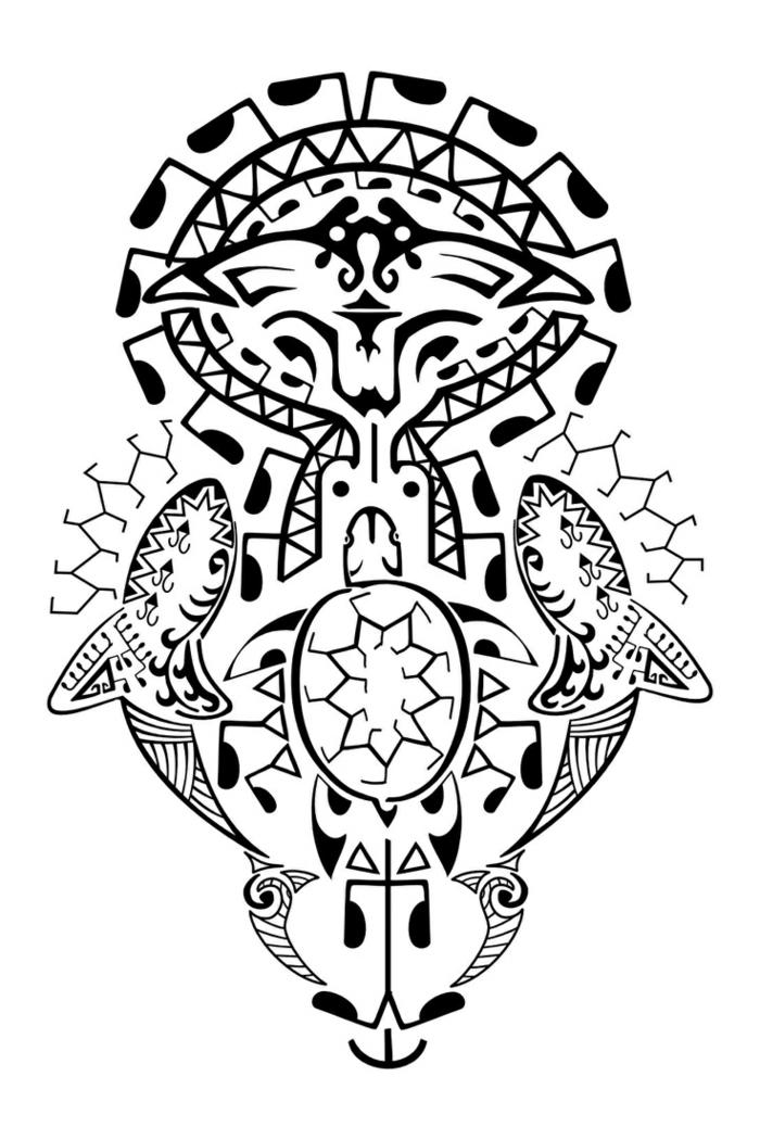 tatuajes antebrazo, diseño de tatuaje maori en blanco y negro con motivos polinesios, peces y raya con púa