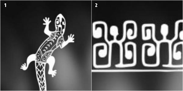 brazalete maori, motivos de tatuajes polinesios, lagartija en blanco y negro, motivo estilizado