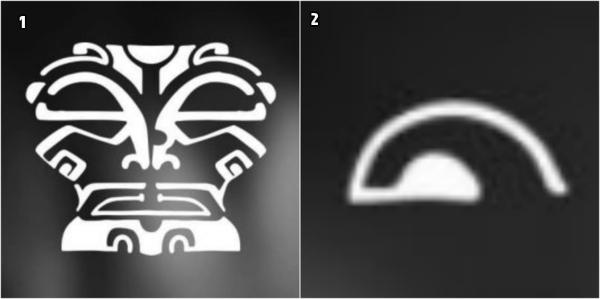 tatuajes hombro, cabeza tiki y ojos de tiki, motivo de tatuajes en Polinesia, ejemplo blanco y negro