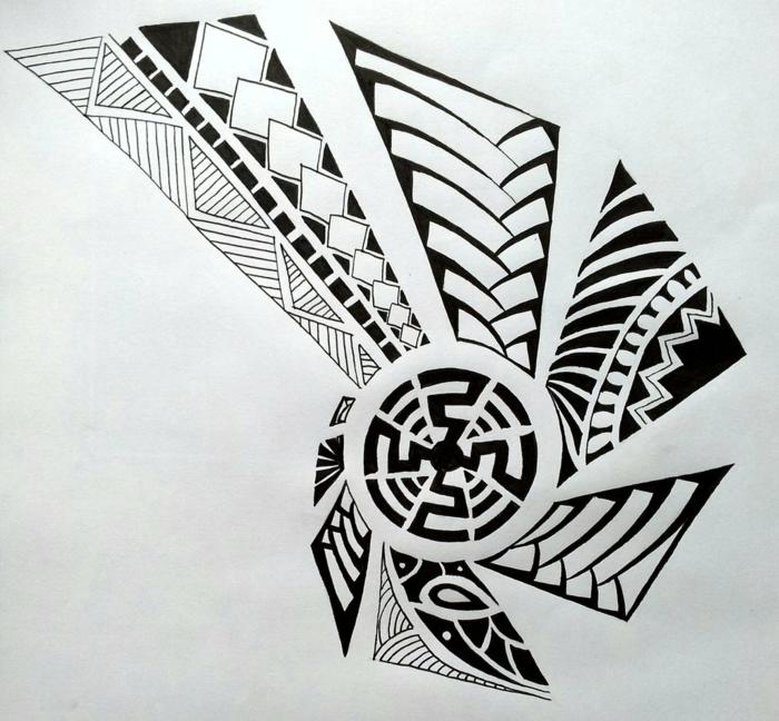 tatuaje maori, diseño de tatuaje polinesio en blanco y negro, círculo, punta de lanza estilizada
