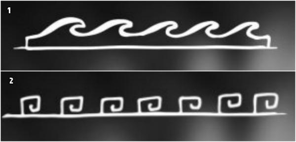 tatuajes maories, versiones del motivo polinesio océano en tatuajes polinesios, variante compleja y simple