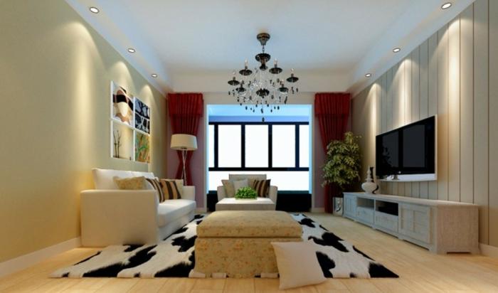 tipos de cortinas, propuesta clásica en rojo oscuro con guardamalletas, candelabro masivo en negro, alfombra en manchas blancas y negraas