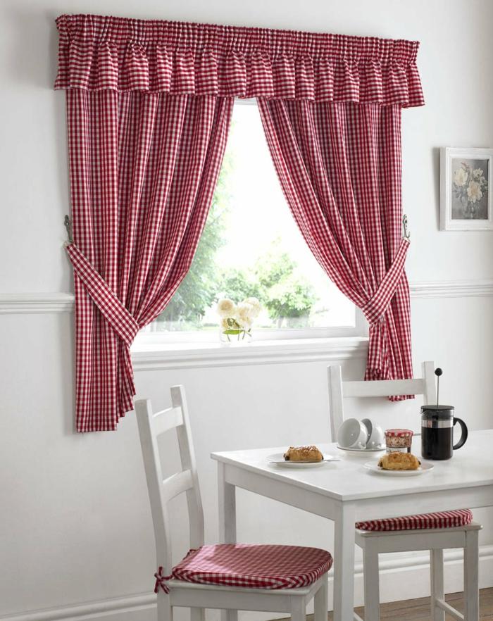telas cortinas, ejemplo de cortinas para la cocina de algodón, estampado en cuadrados en blanco y rojo, guardamalleta coqueta