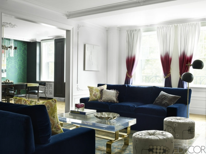 telas cortinas, tendencias 2017 en el diseño, tela en tres colores con bonita cadena dorada decorativa
