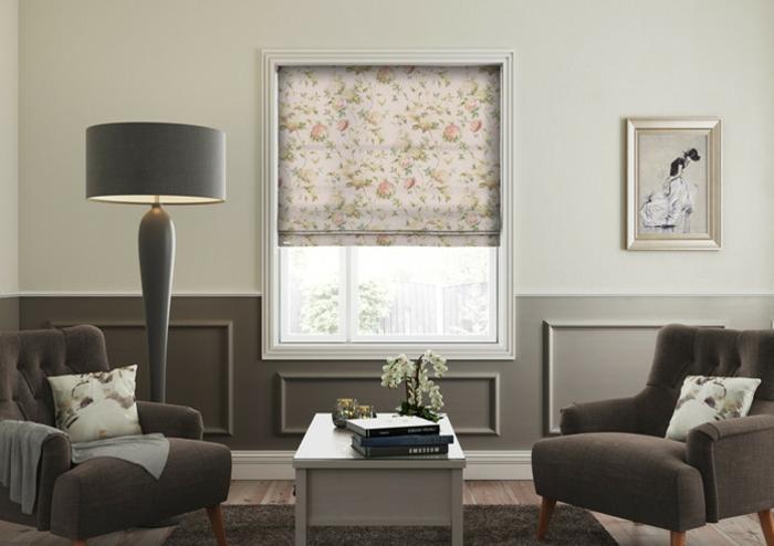 telas cortinas, estores modernos con detalles de flores, colores pasteles perfectos para una habitación estilo provenzal