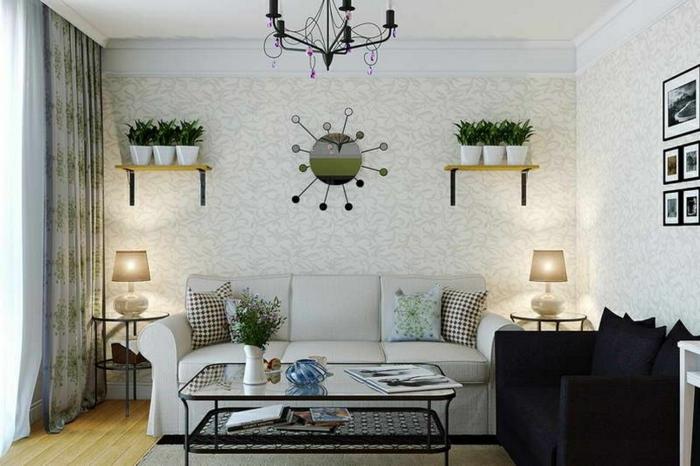 telas cortinas, cortinas delicadas con efecto aireado, color blanco con estampados en verde, salón moderno con decoración de plantas