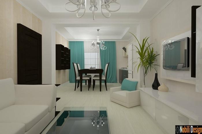 telas cortinas, cortinas masivas y elegantes de color fresco que contrasta al ambiente, salón largo en blanco