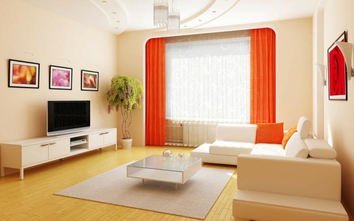 telas cortinas, propuesta alegre de terciopelo, color naranja chillón, espacio luminoso en colores claros