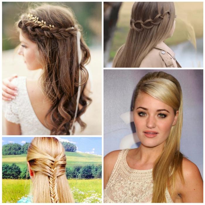 semirecogidos con trenzas, cuatro propuestas de semirecogidos con trenzas para mujer con pelo largo, peinado de novia