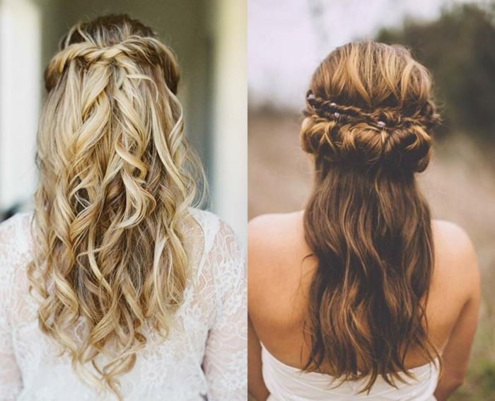 semirecogidos con trenzas, dos propuestas de semirecogidos con trenzas y mechones torcidos en cabellos largos ondulados
