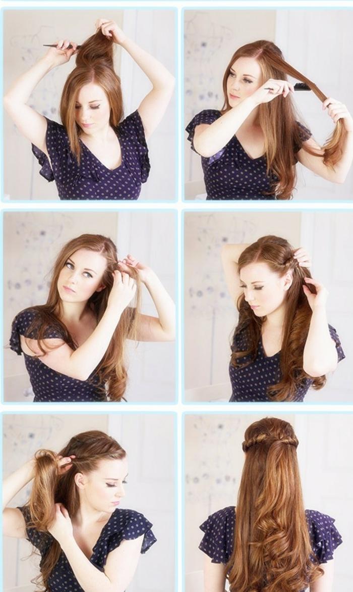 peinados con trenzas, mujer pelirroja, tutorial paso a paso, semirecogido con mechas torcidas laterales, pelo largo ondulado