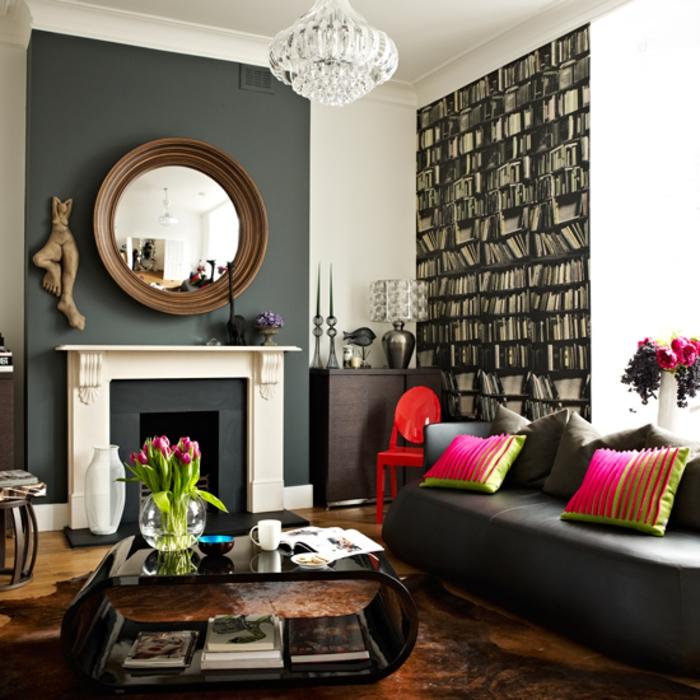 chimeneas de leña, interior moderno, muebles originales, pared con vinilo decorativo, detalles en color fucsia