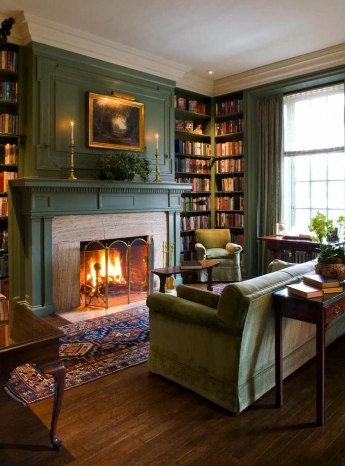 estufas de leña, bonito salón en estilo clásico, biblioteca alta, muebles y pared en verde, mesa alta de madera
