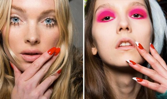 diseños de uñas, tendencias en los colores para 2018, uñas largas en rojo claro en forma de almendra