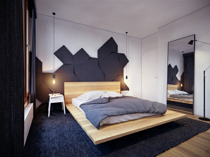 cabeceros cama, habitación muy moderna y minimalista, cama de tablero de madera con colchón, cabecero mosaico, lámparas tipo bombillas