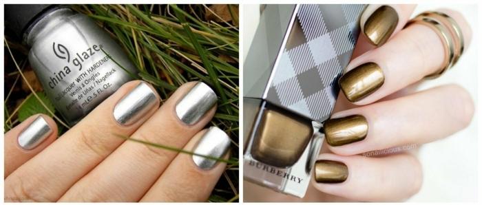 diseños de uñas, ejemplos de manicuras en colores metálicos, uñas en verde y plateado de forma cuadrada