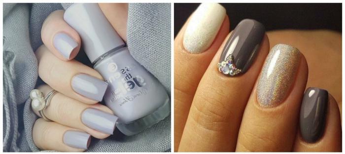 uñas pintadas, diseños de uñas a la moda, manicura en forma cuadrada en tonos metálicos, uñas en color plata y en dorado