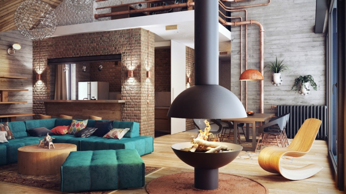 muebles de salon modernos, salon espacioso con chimenea en estilo industrial, sofás en aguamarina, rincón para comer con mesa de madera y sillas modernas
