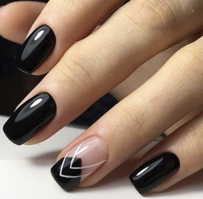 uñas de gel decoradas, uñas refinadas de forma cuadrada con puntas ovaladas, decoración con blanco en el dedo anular