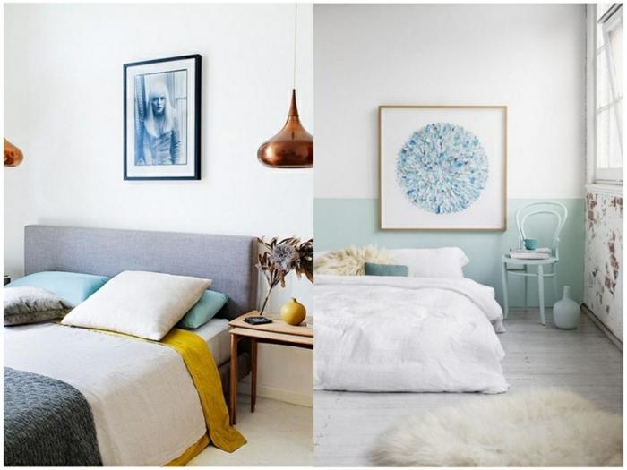 como pintar una habitacion, dormitorios blanco con decoración en tonos pasteles y cuadros decorativos en la pared