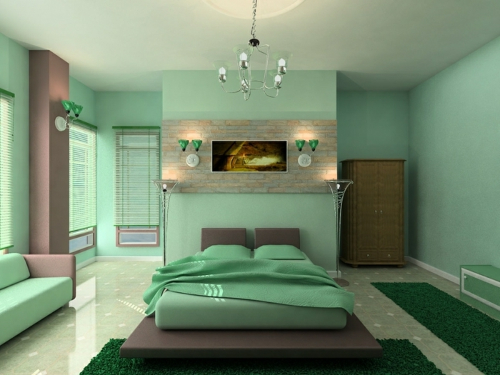 combinaciones de colores, propuesta con toque de frescura, espaciosa habitación en verde menta y tonos pastel, araña vintage