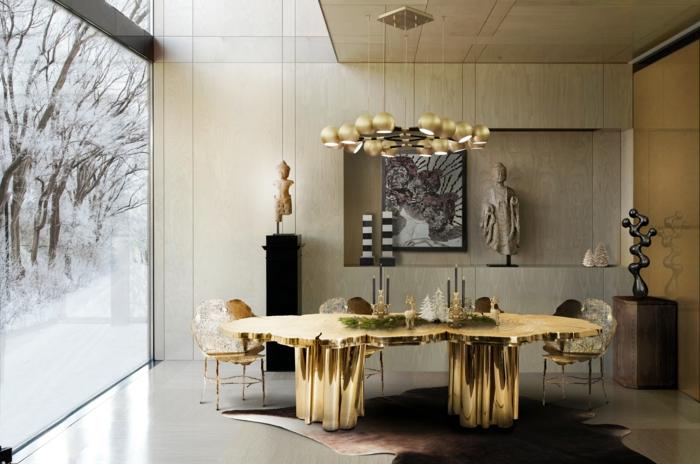 comedores modernos, comedor de lujo con detalles en dorado, mesa super original, grande ventanal con vista invernal