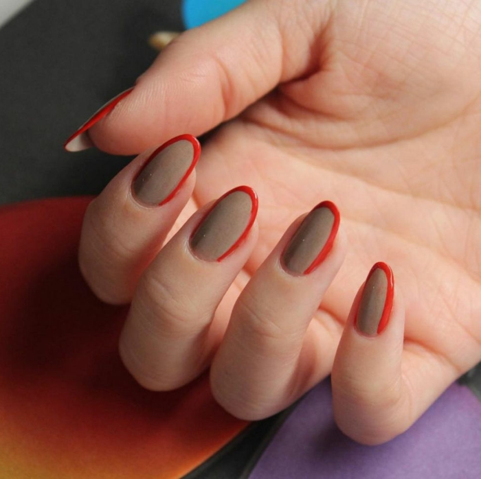 dibujos faciles de hacer, uñas en manicura francesa moderna en beige y rojo, uñas largas en forma ovalada