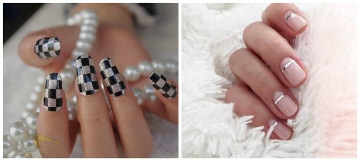 diseño de uñas, ideas originales para otoño invierno 2017 2018, motivos geométricos y tonos metálicos