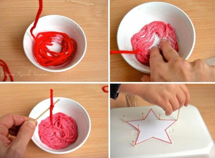 estrella de navidad, manualidades con hilo, idea fácil y original, pasos para elaborar una estrella roja de hilo