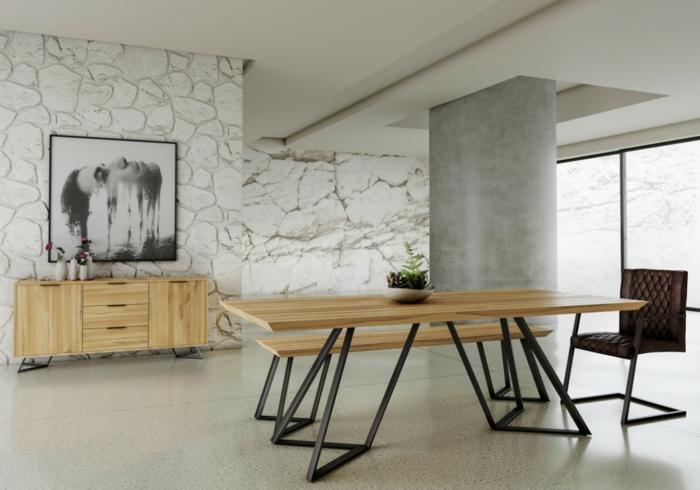 comedores modernos, comedor contemporáneo con muebles de madera, estilo minimalista, grande columna de madera, suelo de mármol