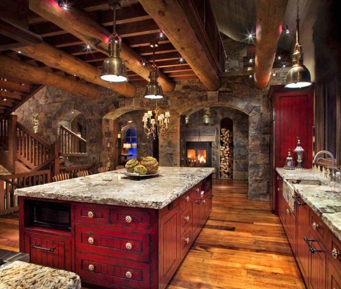 cocina americana, ejemplo de una cocina en estilo rústico, grande barra con muchos armarios, encimera de mármol en gris y suelo de parquet