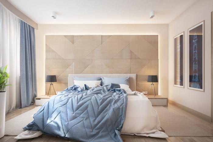 cabeceros de cama, dormitorio grande con cama en el centro de la habitación, cabecero original alto, cobijas y cortinas en azul