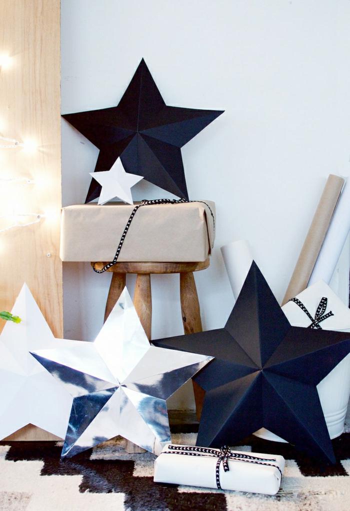 estrellas de papel, decoración moderna y original en forma de estrellas tridimensionales, estrellas negras para decorar tu casa esta Navidad